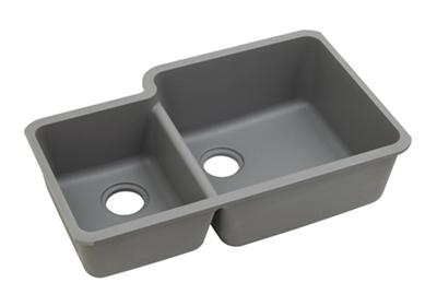 "Image for Elkay Quartz Classic 33"" x 20-11/16"" x 9"", Offset 40/60 Double Bowl Undermount Sink, Greystone from ELKAY"