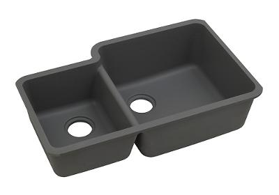 "Image for Elkay Quartz Classic 33"" x 20-11/16"" x 9"", Offset 40/60 Double Bowl Undermount Sink, Dusk Gray from ELKAY"