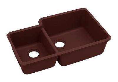 "Image for Elkay Quartz Classic 33"" x 20-11/16"" x 9"", Offset Double Bowl Undermount Sink, Pecan from ELKAY"