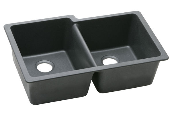 "Elkay Quartz Classic 33"" x 20-1/2"" x 9-1/2"", Offset Double Bowl Undermount Sink"