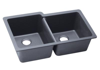 "Image for Elkay Quartz Classic 33"" x 20-1/2"" x 9-1/2"", Double Bowl Undermount Sink, Dusk Gray from ELKAY"