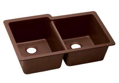 "Image for Elkay Quartz Classic 33"" x 20-1/2"" x 9-1/2"", Offset Double Bowl Undermount Sink, Pecan from ELKAY"