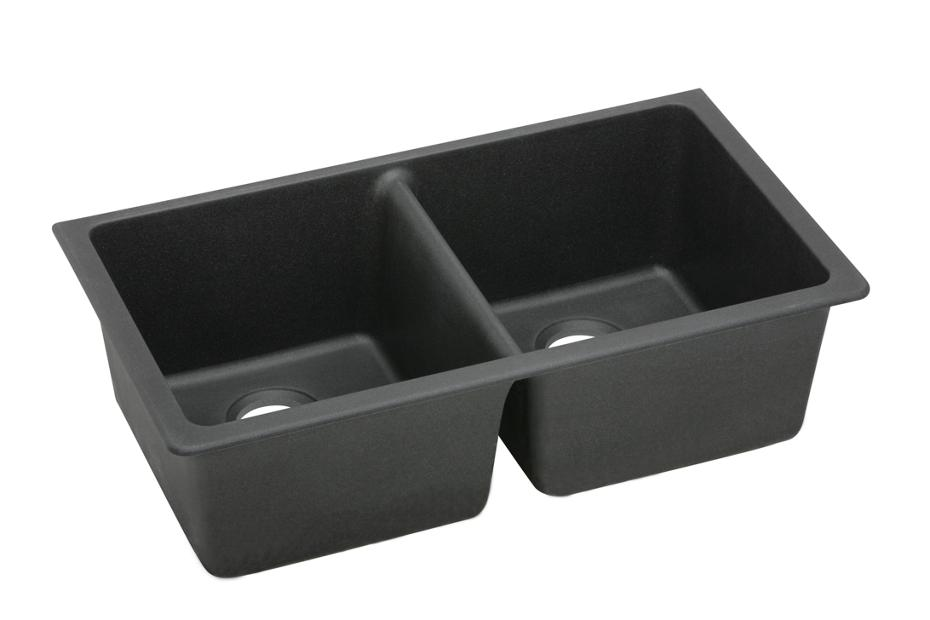 ELKAY ELGU3322BK0 BLACK E-GRANITE DOUBLE EQUAL BOWLS UNDERMOUNT SINK MC275459