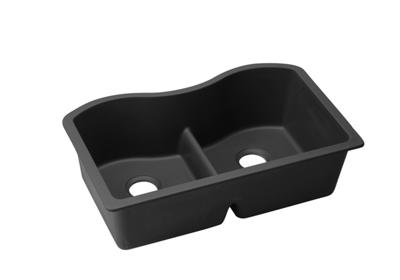 "Image for Elkay Quartz Classic 33"" x 20"" x 9-1/2"", Equal Double Bowl Undermount Sink with Aqua Divide, Black from ELKAY"