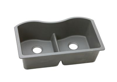 "Image for Elkay Quartz Classic 33"" x 20"" x 9-1/2"", Equal Double Bowl Undermount Sink with Aqua Divide, Greystone from ELKAY"