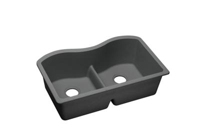 "Image for Elkay Quartz Classic 33"" x 20"" x 9-1/2"", Equal Double Bowl Undermount Sink with Aqua Divide, Dusk Gray from ELKAY"