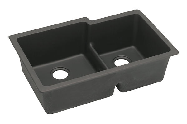 "Elkay Quartz Classic 33"" x 20-1/2"" x 9-1/2"", Offset 60/40 Double Bowl Undermount Sink with Aqua Divide"