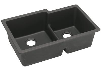 "Image for Elkay Quartz Classic 33"" x 20-1/2"" x 9-1/2"", Offset Double Bowl Undermount Sink with Aqua Divide from ELKAY"