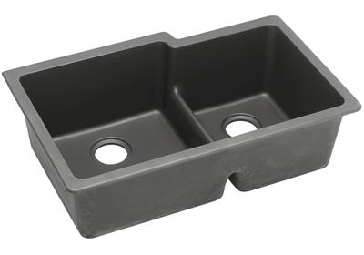 "Image for Elkay Quartz Classic 33"" x 20-1/2"" x 9-1/2"", Offset 60/40 Double Bowl Undermount Sink with Aqua Divide, Dusk Gray from ELKAY"