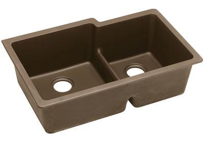 "Image for Elkay Quartz Classic 33"" x 20-1/2"" x 9-1/2"", Offset 60/40 Double Bowl Undermount Sink with Aqua Divide, Mocha from ELKAY"