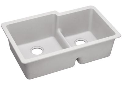 "Image for Elkay Quartz Classic 33"" x 20-1/2"" x 9-1/2"", Offset 60/40 Double Bowl Undermount Sink with Aqua Divide, White from ELKAY"