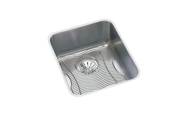 "Elkay Lustertone Stainless Steel 16"" x 18-1/2"" x 7-7/8"", Single Bowl Undermount Sink Kit with Perfect Drain"