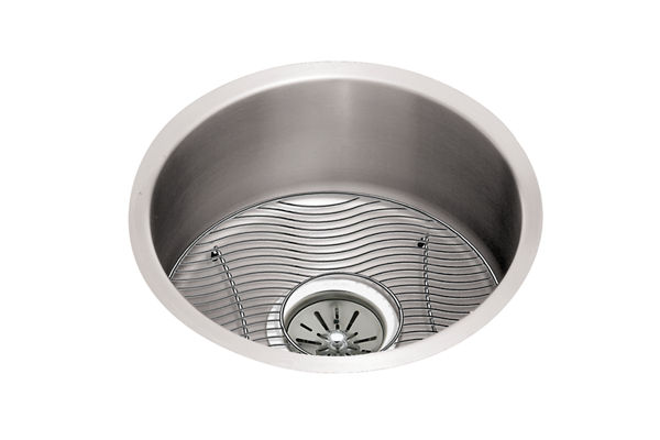 "Elkay Lustertone Stainless Steel 18-3/8"" x 18-3/8"" x 8"", Single Bowl Undermount Sink Kit"