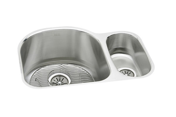 "Elkay Lustertone Stainless Steel 26-3/4"" x 20"" x 10"", Offset 70/30 Double Bowl Undermount Sink Kit"