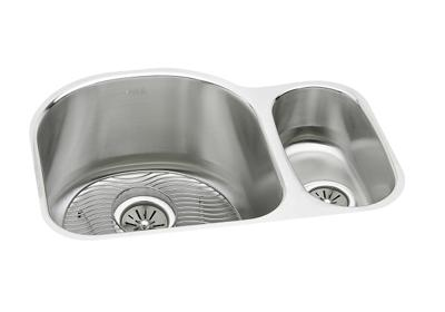 "Image for Elkay Lustertone Stainless Steel 26-3/4"" x 20"" x 10"", Offset 70/30 Double Bowl Undermount Sink Kit from ELKAY"