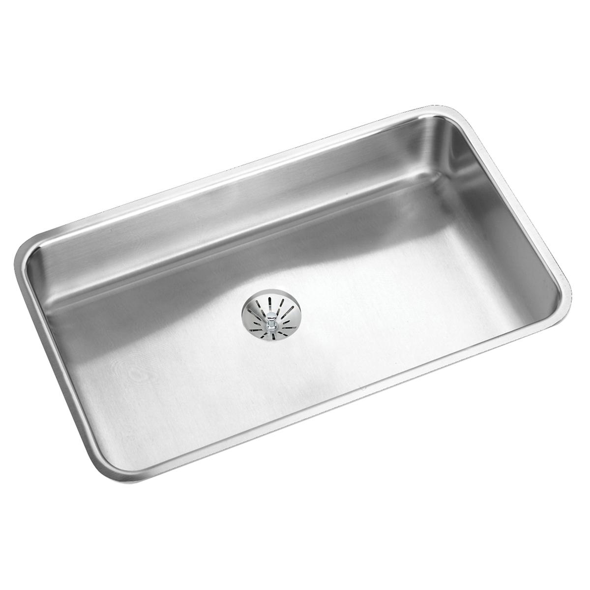 "Elkay Lustertone Classic Stainless Steel, 30-1/2"" X 18-1/2"" X 5-3/8"", Single Bowl Undermount ADA Sink With Perfect Drain"