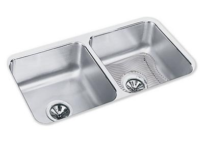"Image for Elkay Lustertone Stainless Steel 31-3/4"" x 16-1/2"" x 7-1/2"", Equal Double Bowl Undermount Sink Kit from ELKAY"