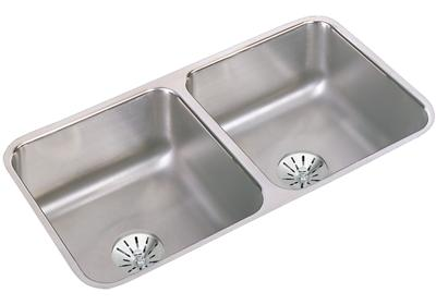 "Image for Elkay Gourmet Stainless Steel 31-3/4"" x 16-1/2"" x 7-1/2"", Equal Double Bowl Undermount Sink with Perfect Drain from ELKAY"