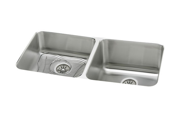 "Elkay Lustertone Stainless Steel 30-3/4"" x 18-1/2"" x 10"", Equal Double Bowl Undermount Sink Kit"