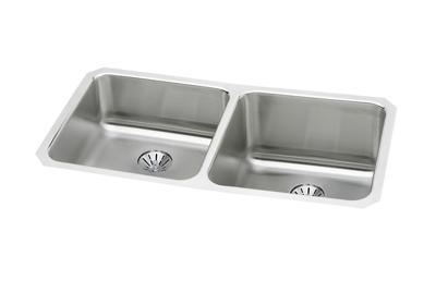 "Image for Elkay Gourmet Stainless Steel 30-3/4"" x 18-1/2"" x 10"", Double Bowl Undermount Sink Kit with Perfect Drain from ELKAY"
