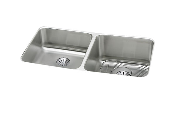 "Elkay Lustertone Stainless Steel 30-3/4"" x 18-1/2"" x 10"", Equal Double Bowl Undermount Sink Kit with Perfect Drain"