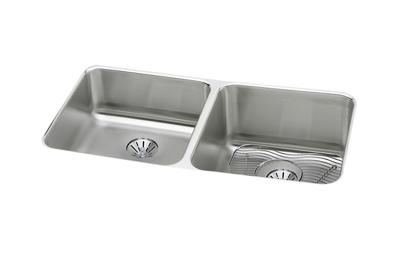 "Image for Elkay Lustertone Stainless Steel 30-3/4"" x 18-1/2"" x 10"", Equal Double Bowl Undermount Sink Kit with Perfect Drain from ELKAY"