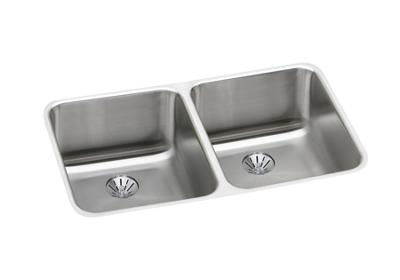 "Image for Elkay Gourmet Stainless Steel 30-3/4"" x 18-1/2"" x 10"", Equal Double Bowl Undermount Sink with Perfect Drain from ELKAY"
