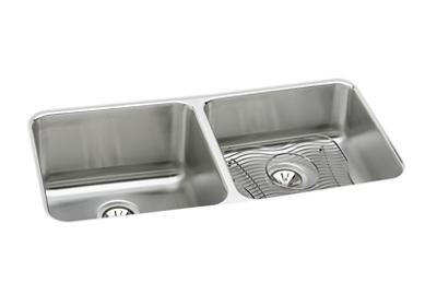 "Image for Elkay Lustertone Stainless Steel 30-3/4"" x 18-1/2"" x 10"", Equal Double Bowl Undermount Sink Kit from ELKAY"