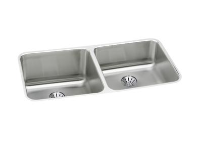 "Image for Elkay Gourmet Stainless Steel 30-3/4"" x 18-1/2"" x 10"" Double Bowl Undermount Sink Kit with Perfect Drain from ELKAY"