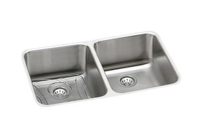 "Image for Elkay Lustertone Stainless Steel 30-3/4"" x 18-1/2"" x 7-7/8"", Equal Double Bowl Undermount Sink Kit from ELKAY"