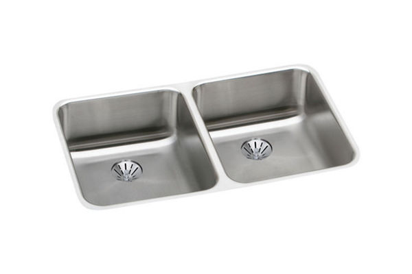 "Elkay Lustertone Stainless Steel 30-3/4"" x 18-1/2"" x 4-3/8"", Equal Double Bowl Undermount ADA Sink w/ Perfect Drain"