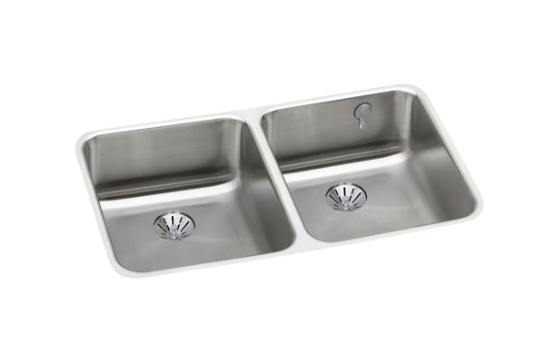 "Elkay Gourmet Stainless Steel 30-3/4"" x 18-1/2"" x 7-7/8"" Equal Double Bowl Undermount Sink with Perfect Drain"