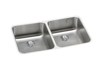 "Image for Elkay Gourmet Stainless Steel 30-3/4"" x 18-1/2"" x 7-7/8"", Equal Double Bowl Undermount Sink with Perfect Drain from ELKAY"