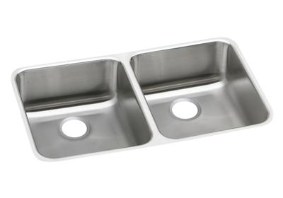 "Image for Elkay Gourmet Stainless Steel 30-3/4"" x 18-1/2"" x 7-7/8"", Equal Double Bowl Undermount Sink from ELKAY"