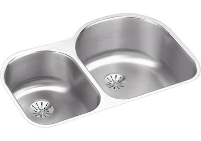 "Image for Elkay Lustertone Stainless Steel 31-1/4"" x 20"" x 10"", Offset 40/60 Double Bowl Undermount Sink with Perfect Drain from ELKAY"
