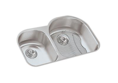 "Image for Elkay Lustertone Stainless Steel 31-1/4"" x 20"" x 7-1/2"", Offset 40/60 Double Bowl Undermount Sink Kit from ELKAY"
