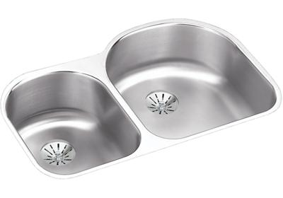 "Image for Elkay Lustertone Stainless Steel 31-1/4"" x 20"" x 7-1/2"", Offset 40/60 Double Bowl Undermount Sink w/ Perfect Drain from ELKAY"