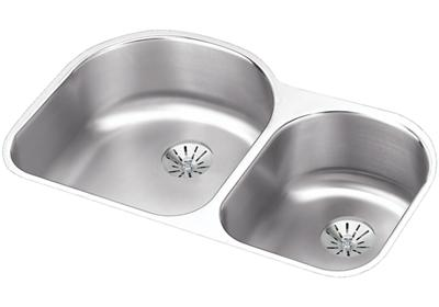 "Image for Elkay Lustertone Stainless Steel 31-1/4"" x 20"" x 7-1/2"", Offset 60/40 Double Bowl Undermount Sink w/ Perfect Drain from ELKAY"