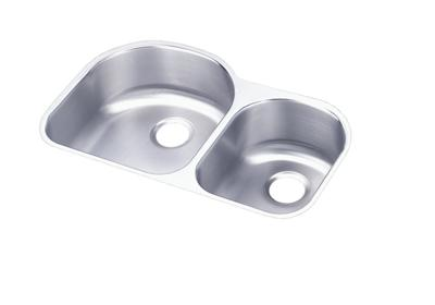 "Image for Elkay Lustertone Stainless Steel 31-1/4"" x 20"" x 7-1/2"", Offset 60/40 Double Bowl Undermount Sink from ELKAY"