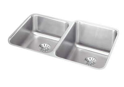 "Image for Elkay Lustertone Stainless Steel 31-1/4"" x 20-1/2"" x 9-7/8"", Offset Double Bowl Undermount Sink with Perfect Drain from ELKAY"