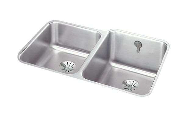 "Elkay Gourmet Stainless Steel 31-1/4"" x 20-1/2"" x 9-7/8"" 40/60 Double Bowl Undermount Sink with Perfect Drain"