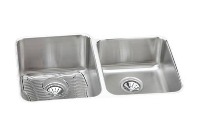 "Image for Elkay Lustertone Stainless Steel 31-1/4"" x 20-1/2"" x 9-7/8"", Offset Double Bowl Undermount Sink Kit from ELKAY"