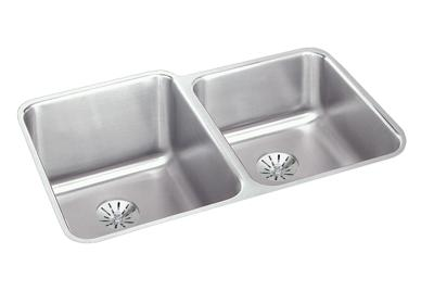 "Image for Elkay Lustertone Stainless Steel 31-1/4"" x 20-1/2"" x 4-3/8"", Offset Double Bowl Undermount Sink with Perfect Drain from ELKAY"