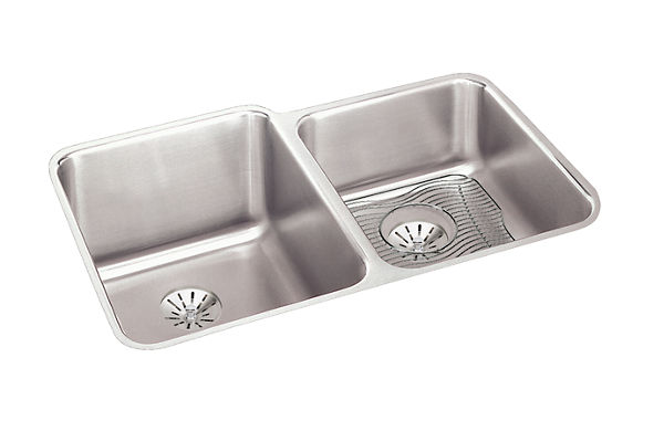 "Elkay Lustertone Classic Stainless Steel 31-1/4"" x 20-1/2"" x 9-7/8"", Double Bowl Undermount Sink Kit w/Perfect Drain"