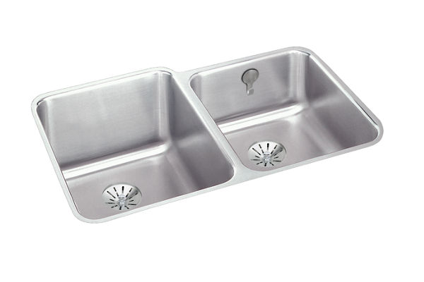 "Elkay Lustertone Stainless Steel 31-1/4"" x 20-1/2"" x 9-7/8"", Offset Double Bowl Undermount Sink with Perfect Drain"