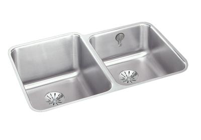 "Image for Elkay Gourmet Stainless Steel 31-1/4"" x 20-1/2"" x 9-7/8"", 60/40 Double Bowl Undermount Sink with Perfect Drain from ELKAY"