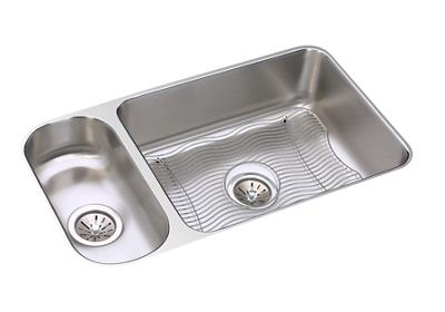 "Image for Elkay Lustertone Stainless Steel 32-1/4"" x 18-1/4"" x 7-3/4"", 30/70 Double Bowl Undermount Sink Kit from ELKAY"
