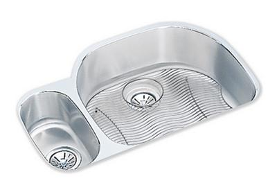 "Image for Elkay Lustertone Stainless Steel 31-1/2"" x 21-1/8"" x 7-1/2"", 30/70 Offset Double Bowl Undermount Sink Kit from ELKAY"