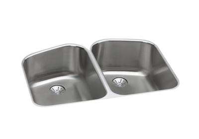 "Image for Elkay Lustertone Stainless Steel 32-3/4"" x 21-13/16"" x 9"", Equal Double Bowl Undermount Sink with Perfect Drain from ELKAY"
