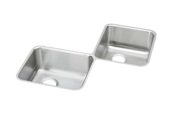 "Elkay Lustertone Stainless Steel 32"" x 32"" x 7-7/8"", Equal Double Bowl Corner Sink"